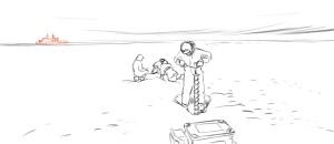 Eisarbeiten, im Hintergrund das Forschungsschiff