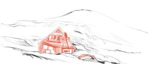 Eine Lawine in Longyearbyen begräbt ein Haus.