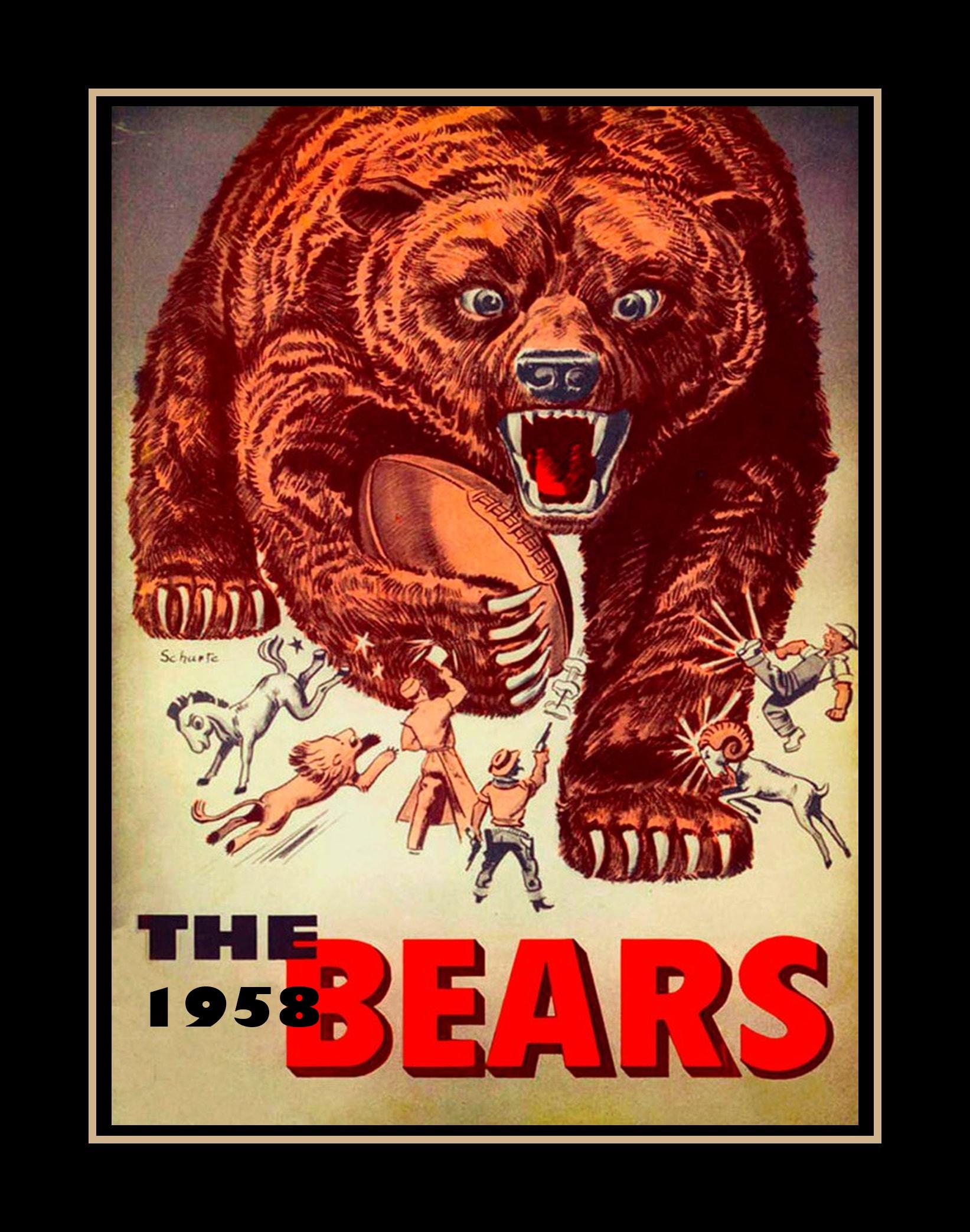 vintage 1958 chicago bears memorabilia poster nfl football wall art gift