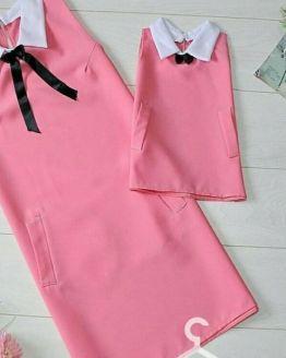 Комплект еднакви рокли с бели якички за майка и дъщеря различни цветове