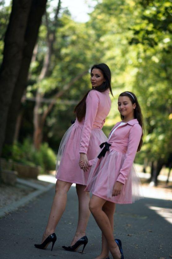 Комплект дамско и детско сако Розова феерия