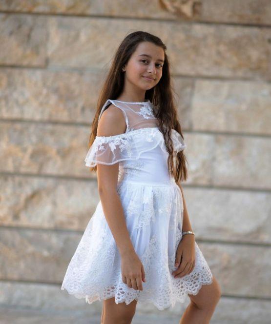 Детска рокля с луксозна дантела Бела