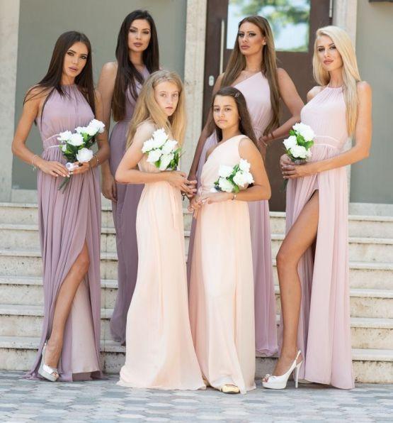 Нежни шифонени рокли за шаферки