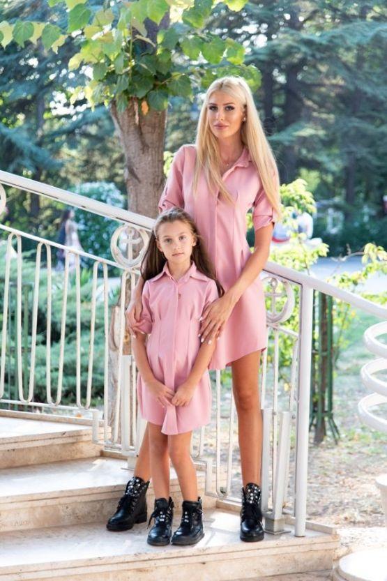 Комплект еднакви дълги ризи за майка и дъщеря