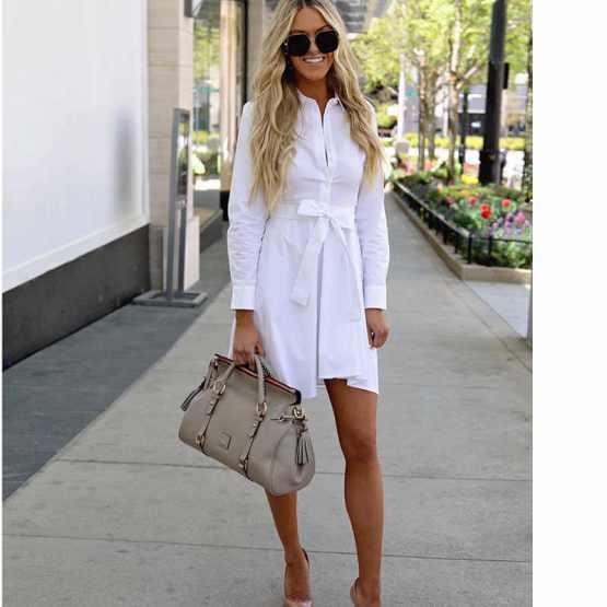 Дълга бяла риза с колан