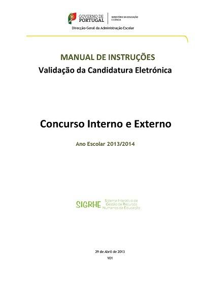 Manual de Instruções – Validação da Candidatura Eletrónica _ Concurso Nacional 2013