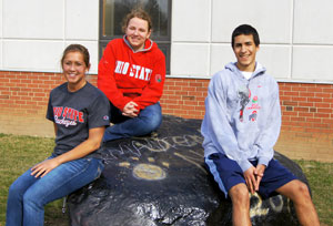 Seniors Mandie Abbruzzese, Emily Duhigg and Hussein Khatib have been accepted to OSU. These students will all be entering OSU during the fall of 2012. Photo by Natasha Ringnalda