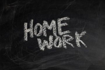 """""""homework"""" written on chalkboard"""