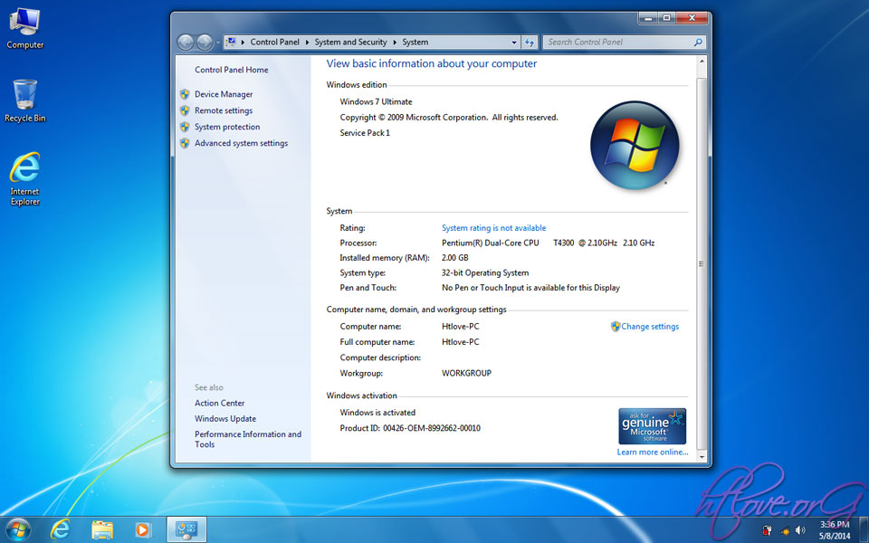 Ghost Windows 7 32 BIT SP1 Super Lite Size 592MB By CmTeamPK