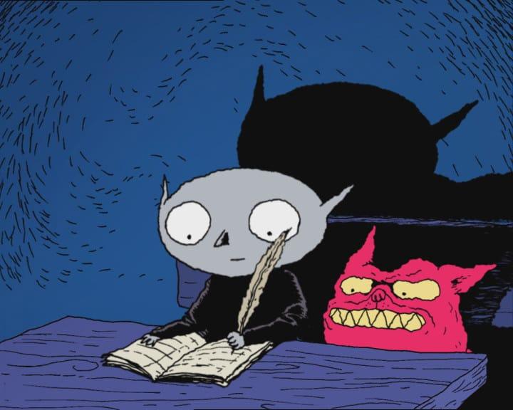Dessin d'un petit vampire et de sa créature - Joann Sfar