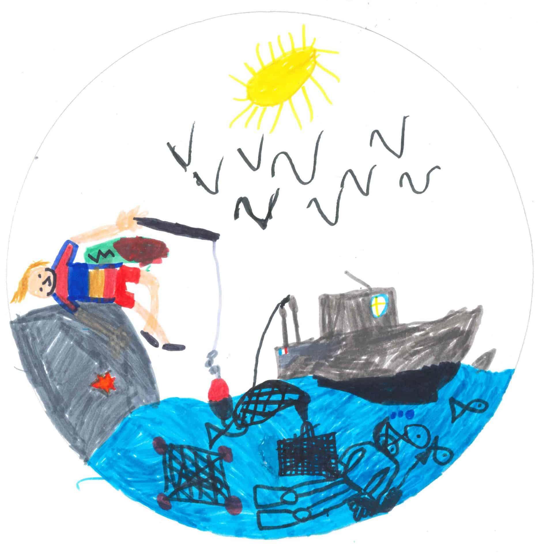 Illustration Mercredi - Dessin d'enfant : un bateau et un pêcheur