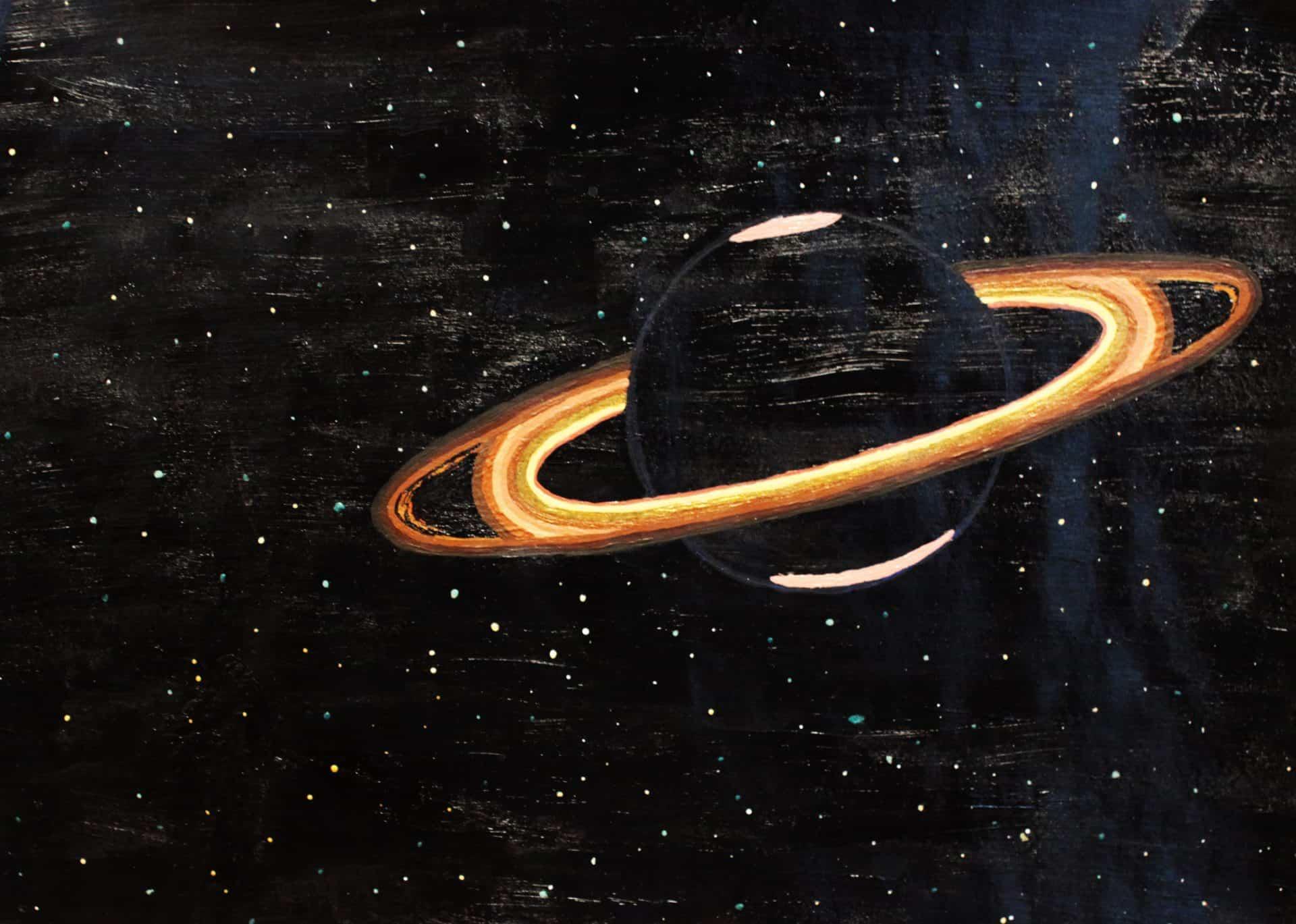Peinture - une planète avec des anneaux dans l'espace