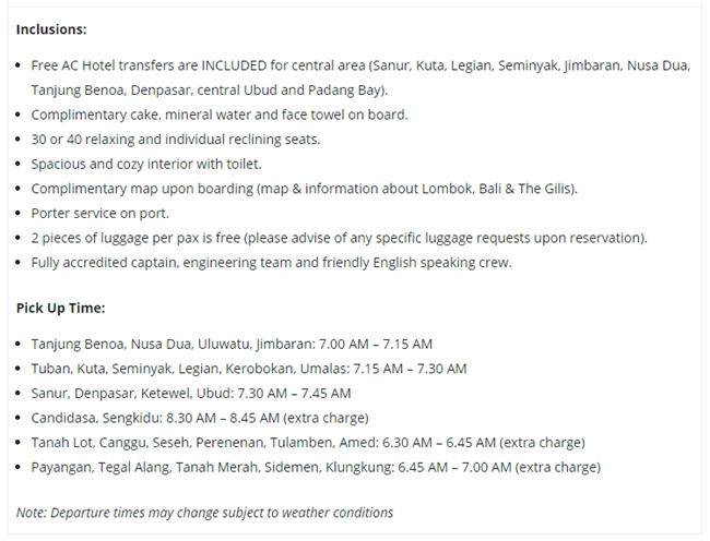 Harga Fast Boat Gili Gili Dari Gili Trawangan Ke Bali