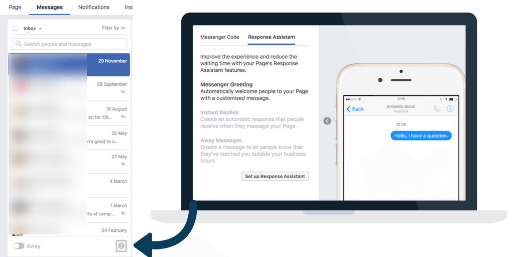 Set up Facebook response assistant