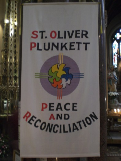 Peace & Reconciliation Banner at St. Oliver's Shrine