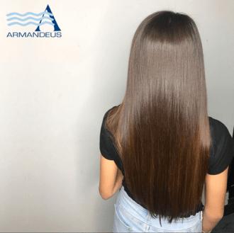 Japanese hair straightening done at Salon Armandeus Doral