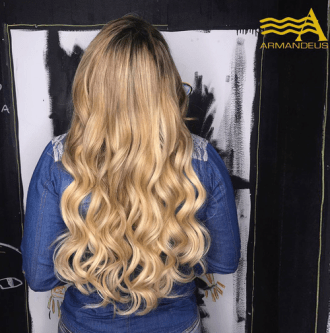 Hair extensions and color done at Salon Armandeus Doral