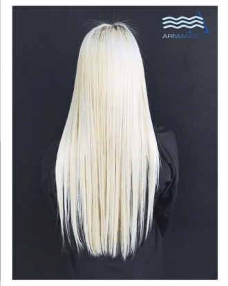Platinum blonde and hair extensions done at Salon Armandeus Doral
