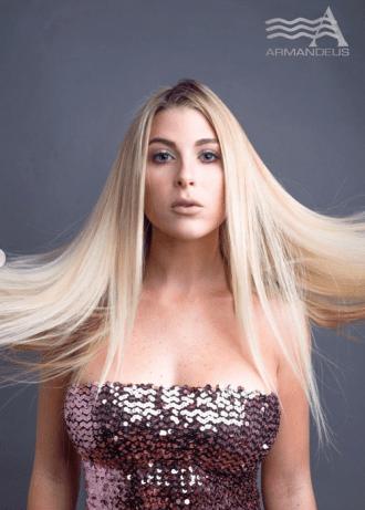 Platinum blonde and hair extensions by Salon Armandeus Doral