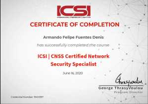 ICSI CNSS Certified Network Security Specialist by Armando Felipe Fuentes Denis