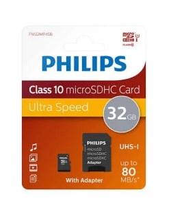 MICRO SD 32GB CLASE 10 C/ADAP PHILIPS (FM32MP45B)