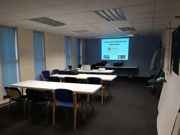 Asbestos training in Stockport – classroom set up ready for delegates