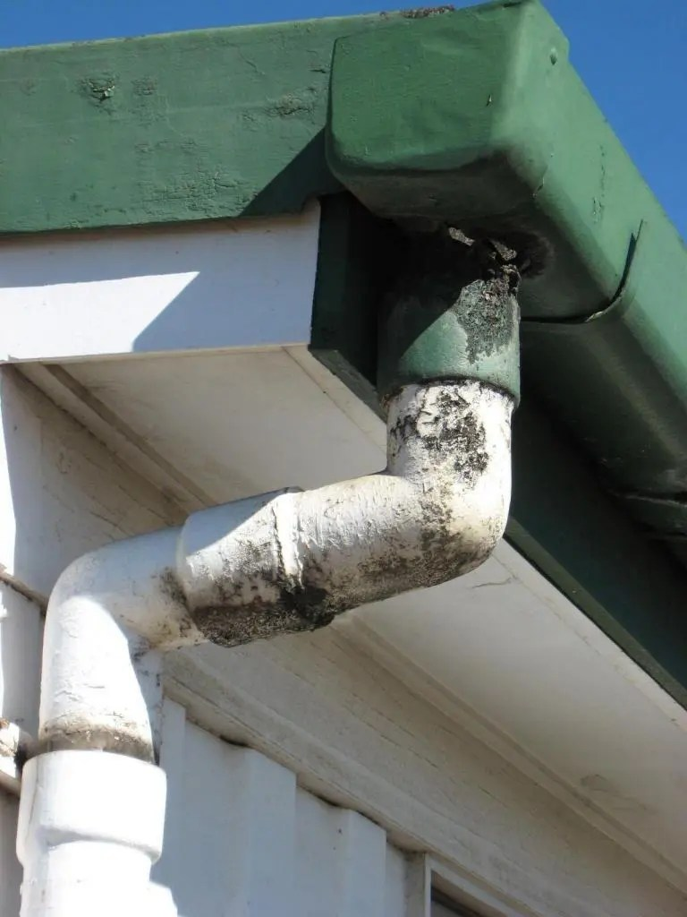 asbestos cement guttering and downpipe