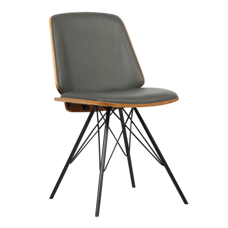 Armen Living Inez Mid Century Dining Chair In Gray Faux Leather With Black Powder Coated Metal