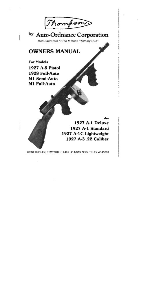 Thompson Tommy Full Auto - Owners Manual