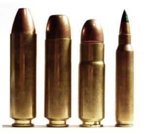 .50 Beowulf, .450 Bushmaster, .458 Socom e 556 × 45 mm NATO.