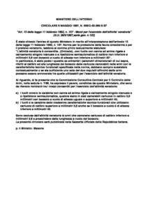 Circolare 559/C-50.065-E-97 del 6 maggio 1997 - Quesito interpretazione art. 13 Legge 11 febbraio 1992, n. 157