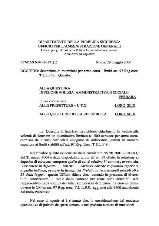Quesito 577/PAS.6340-10171(1) del 29 maggio 2006 - Detenzione di munizioni per arma corta - limiti art. 97 Reg. Esec. T.U.L.P.S.