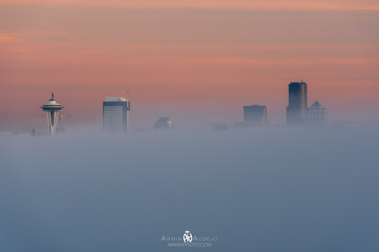 Fog covers downtown, with the tops of the skyscrapers above it