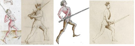 Fig 2: The Devil is in the Details. At their core, the guards vom Tag and Posta di Donna threaten a s trong blow from above, while those of Pflug and Posta Breve threaten a straight thrust. However, the differences in how the swordsman stands, how the sword is or is not carried on the centerline, the distribution of body-weight and so forth demonstrate clear differences in tactics and fight strategy between the two traditions.