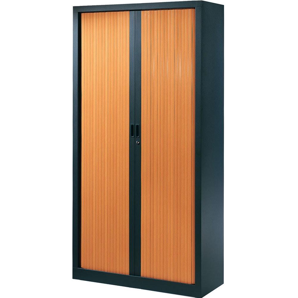 armoire de bureau serie a structure anthracite et rideaux pommier h198 l100