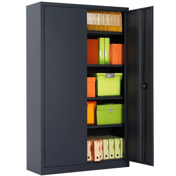 une armoire de bureau a portes battantes ouvertes