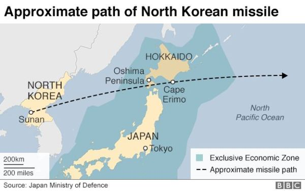 Missile Over Northern Japan Fired By North Korea ...