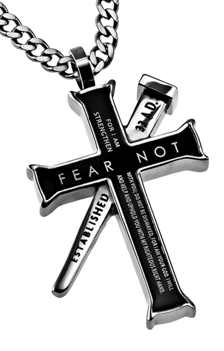 Cross necklaces for men black cross necklace fear not aloadofball Image collections