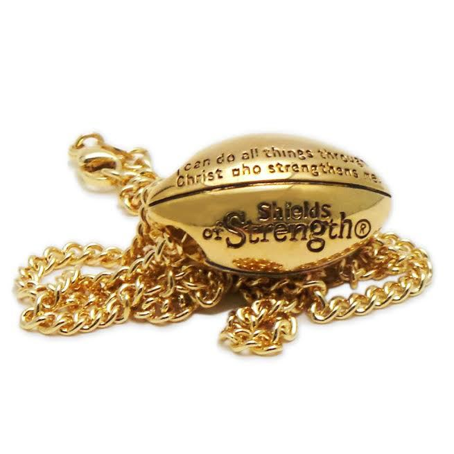 Gold football necklace with scripture armour in truth gold football phil 413 back aloadofball Image collections