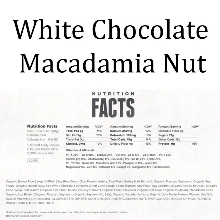 Clif Bar Nutrition Facts White Chocolate