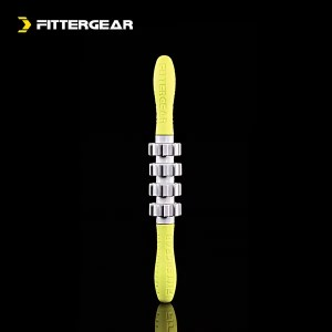 FitterGear Short Massage Stick 4 Wheels Yellow