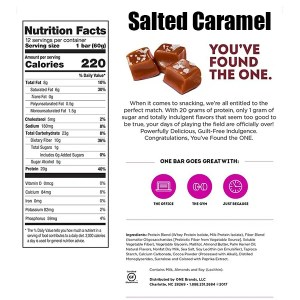 OhYeah One Bar 60g Single Salted Caramel Nutrition Facts ArmourUP Asia Singapore