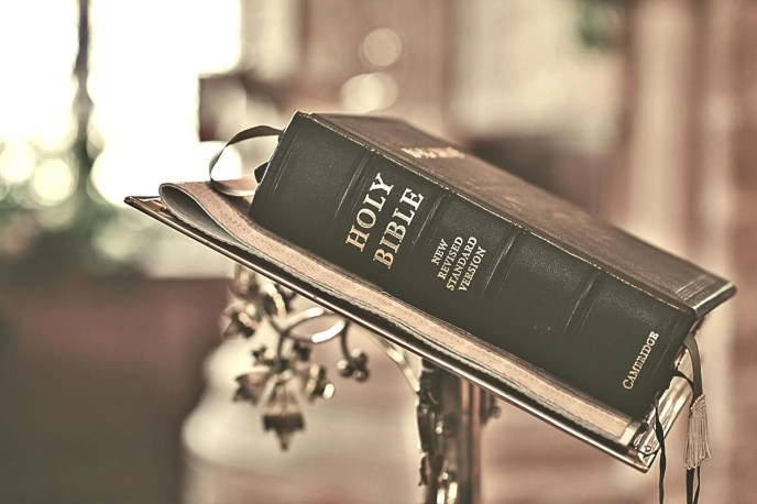 Holy Bible on a pulpit