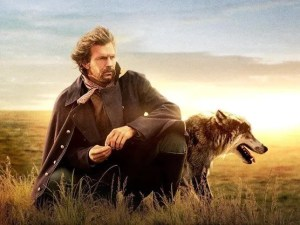 kevin costner with a wolf fom dances with wolves