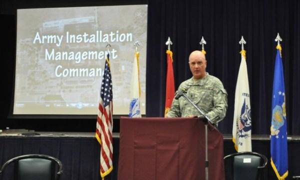 IMCOM Command Sgt. Maj. Neil Ciotola speaks at press ...