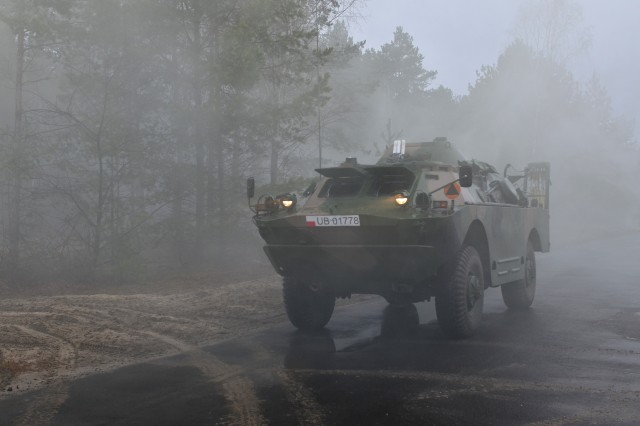 A Polish Combat Reconnaissance Patrol Vehicle safeguards a route during a simulated Chemical, Biological, Radiological and Nuclear training exercise Mar. 7, 2017. Operation Atlantic Resolve, a U.S. led effort in Eastern Europe that demonstrates U.S. commitment to NATO and dedication to enduring peace and stability in the region. (U.S. Army photo by Sgt. Justin Geiger)