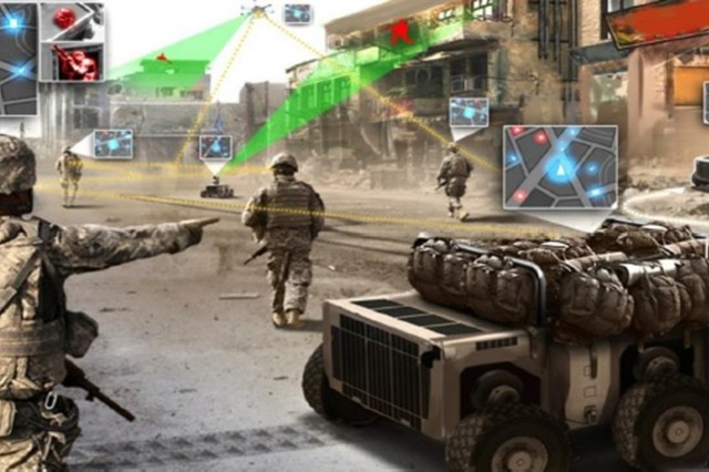 The battlefield of the future is closer than some may think. By 2025, the Army sees ground troops conducting foot patrols in urban terrain with robots, called Squad Multipurpose Equipment Transport vehicles, that carry rucksacks and other equipment alongside Soldiers. Overhead, unmanned aircraft will also serve as spotters to warn troops so they can engage the enemy on their own terms, according to the the Army's new strategy on robotic and autonomous systems.