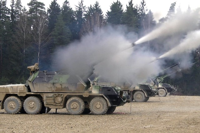 The Czech Republic's 13th Field Artillery Regiment fires 152mm Howitzers during Exercise Dynamic Front II at the 7th Army Training Command's Grafenwoehr Training Area, Germany.