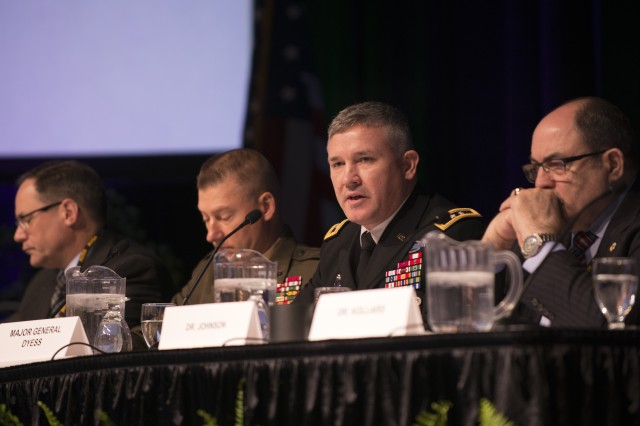 Maj. Gen. Bo Dyess, acting director of the Army Capabilities Integration Center, talks about the multi-domain battle concept during a panel discussion at the Association of the United States Army's global force symposium in Huntsville, Ala., March 13, 2017.