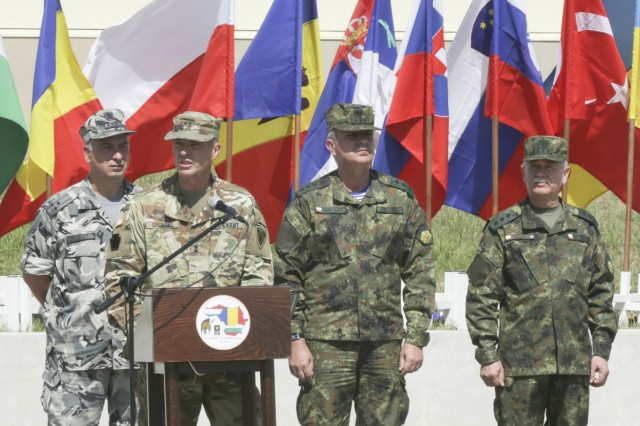 Maj. Gen. John Gronski Deputy Commanding General for Army National Guard, U.S. Army Europe, speaks to multinational military members during the opening ceremony for exercise Saber Guardian 17 at Novo Selo Training Area, Bulgaria, July 11, 2017. Saber Guardian is a U.S. Army Europe-led, multinational exercise that spans across Bulgaria, Hungary and Romania with more than 25,000 service members from 22 allied and partner nations.